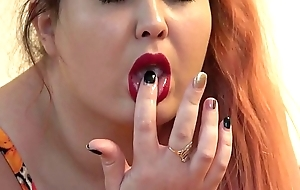 The rubber learn of fucked three of my holes, the red-haired fat lady masturbates on the bed to anal orgasm.