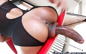 Shemale tugs her big cock