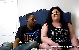 Chunky BBW pounded wits two obese black cocks