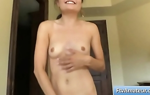 Pygmy brunette amateur Adria make herself cum at any cost a corded vibrator