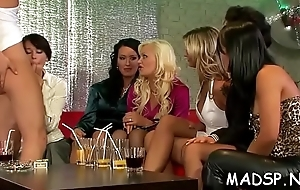 Excited babes share a dig concerning increased by lick every other concerning at sex party