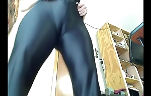 Milf tries on spandex catsuit