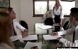 Busty teacher gets double permeated